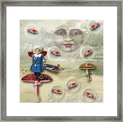 Man In The Moon Framed Print featuring the digital art Something Fishy At The Shore by Bellesouth Studio