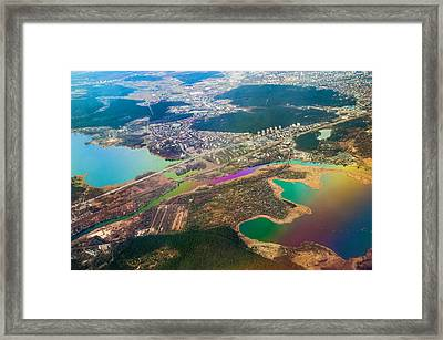 Somewhere Over Latvia. Rainbow Earth Framed Print by Jenny Rainbow