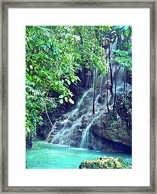 Sommerset Falls Jamaica Framed Print by Carey Chen