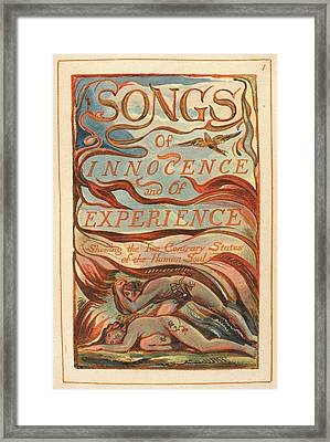 Songs Of Innocence And Experience Framed Print by British Library