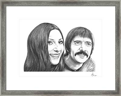 Sonny And Cher Bono Framed Print by Murphy Elliott