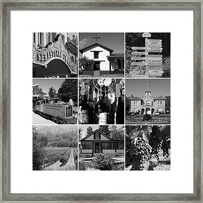 Sonoma County Wine Country 20140906 Black And White Framed Print by Wingsdomain Art and Photography