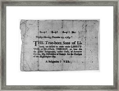 Sons Of Liberty Broadside Framed Print by Granger