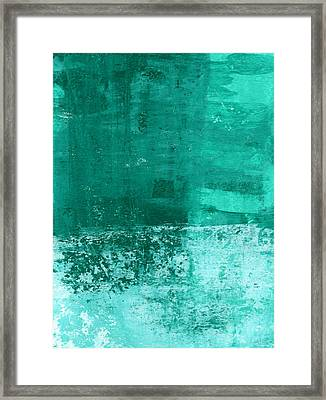Bedroom Framed Print featuring the painting Soothing Sea - Abstract Painting by Linda Woods