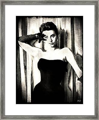 Sophia Loren - Black And White Framed Print by Absinthe Art By Michelle LeAnn Scott