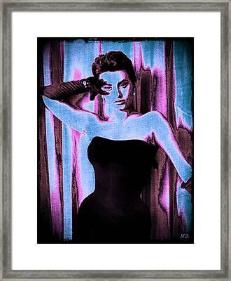 Sophia Loren - Blue Pop Art Framed Print by Absinthe Art By Michelle LeAnn Scott