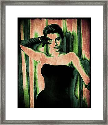 Sophia Loren - Green Pop Art Framed Print by Absinthe Art By Michelle LeAnn Scott