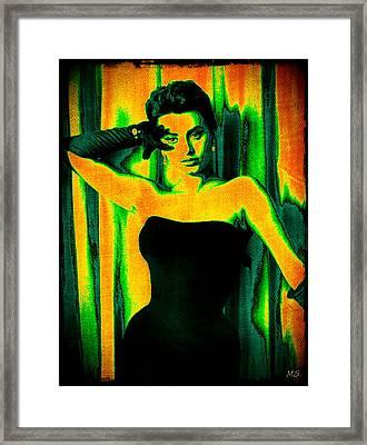 Sophia Loren - Neon Pop Art Framed Print by Absinthe Art By Michelle LeAnn Scott