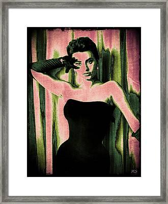 Sophia Loren - Pink Pop Art Framed Print by Absinthe Art By Michelle LeAnn Scott