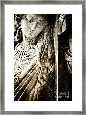 Sorrowful Gaze Framed Print by Sonja Quintero