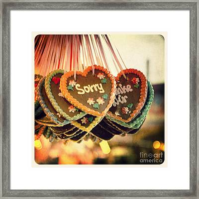 Sorry Gingerbread Framed Print by Jane Rix