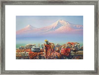 Soulful And Colorful Ararat Framed Print by Meruzhan Khachatryan