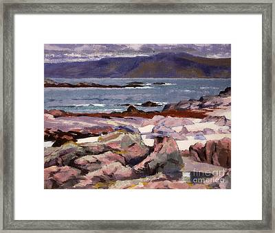 Sound Of Iona  The Burg From The North Shore Framed Print by Francis Campbell Boileau Cadell