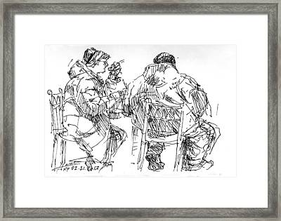 Soup Time At Tim Hortons Framed Print by Ylli Haruni