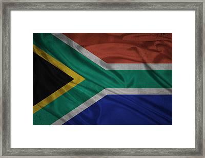 South American Flag Waving On Canvas Framed Print by Eti Reid