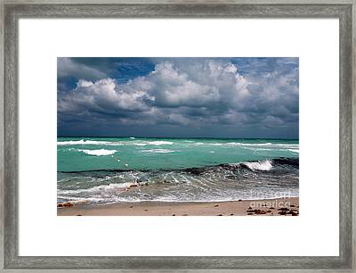 South Beach Storm Clouds Framed Print by John Rizzuto