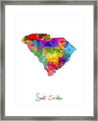 South Carolina Map Framed Print by Michael Tompsett