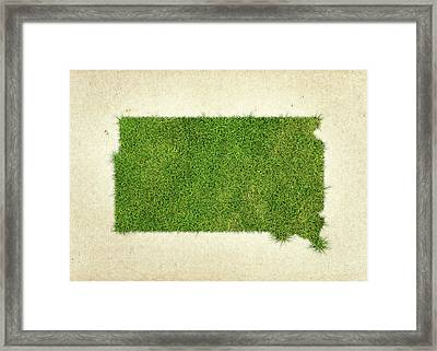South Dakota Grass Map Framed Print by Aged Pixel