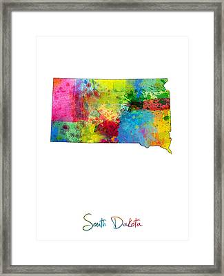 South Dakota Map Framed Print by Michael Tompsett