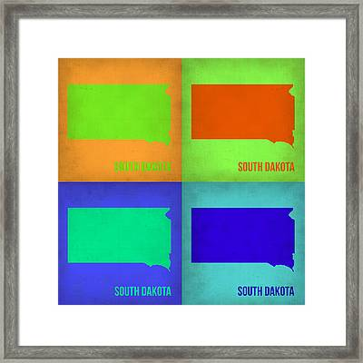 South Dakota Pop Art Map 1 Framed Print by Naxart Studio