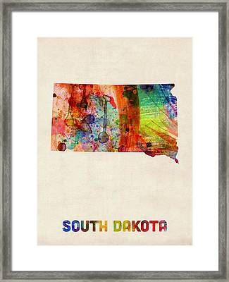 South Dakota Watercolor Map Framed Print by Michael Tompsett