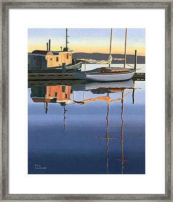 South Harbour Reflections Framed Print by Gary Giacomelli