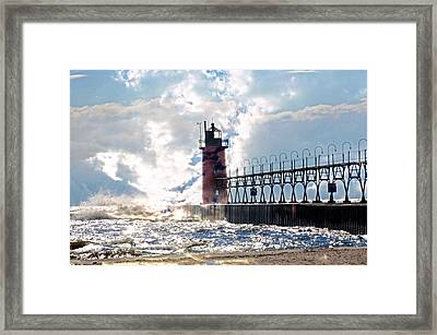South Haven Lighthouse Framed Print by Cheryl Cencich