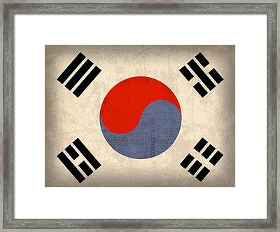 South Korea Flag Vintage Distressed Finish Framed Print by Design Turnpike