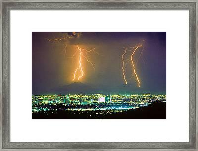 South Mountain Lightning Strike Phoenix Az Framed Print by James BO  Insogna