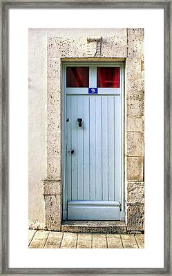 South Of France Pale Blue Door Framed Print by Georgia Fowler