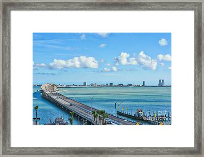 South Padre Island Bridge Framed Print by Tod and Cynthia Grubbs