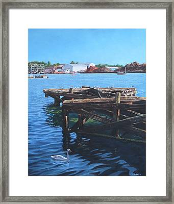 Southampton Northam River Itchen Old Jetty With Sea Birds Framed Print by Martin Davey