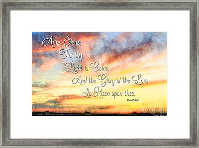 Southern Sunset - Digital Paint IIi With Verse Framed Print by Debbie Portwood