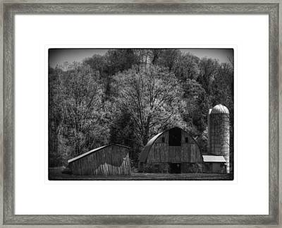 Southwest Wisconsin Barn Black And White Framed Print by Thomas Young
