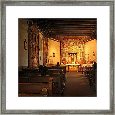 Southwestern Mission In Chimayo New Mexico Framed Print by Julie Magers Soulen