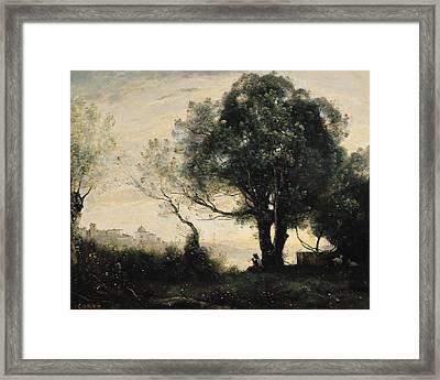 Souvenir Of Castel Gandolfo Oil On Canvas Framed Print by Jean Baptiste Camille Corot