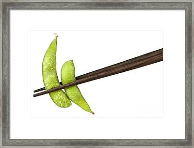 Soy Beans With Chopsticks Framed Print by Elena Elisseeva