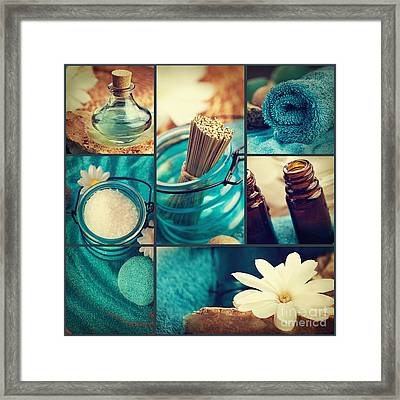 Spa Collage Framed Print by Mythja  Photography