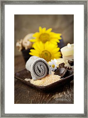 Spa Setting Framed Print by Mythja  Photography