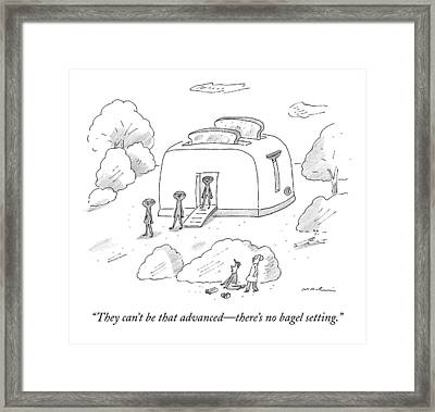 Space Aliens Walk Out Of A Giant Toaster Space Framed Print by Michael Maslin