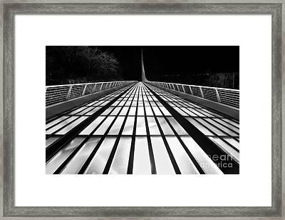 Space Bridge - The Unique Sundial Bridge In Redding California In Black And White. Framed Print by Jamie Pham
