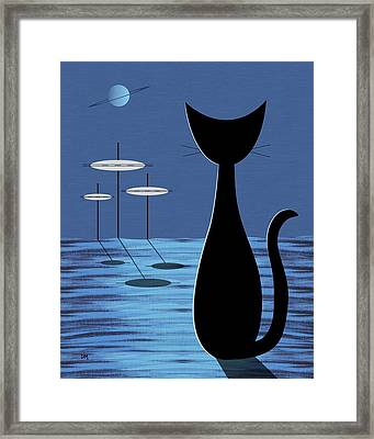 Space Cat In Blue Framed Print by Donna Mibus
