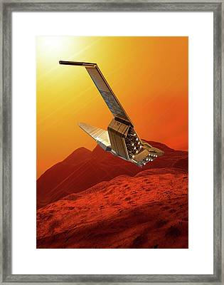 Space Craft In Outer Space Framed Print by Victor Habbick Visions