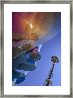 Space Needle And Emp In Perspective Non Hdr Framed Print by Scott Campbell