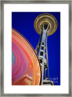 Space Needle Color Wheel Framed Print by Inge Johnsson