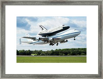 Space Shuttle Enterprise Piggyback Flight Framed Print by Nasa/smithsonian Institution/mark Avino