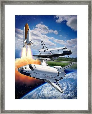 Space Shuttle Montage Framed Print by Stu Shepherd