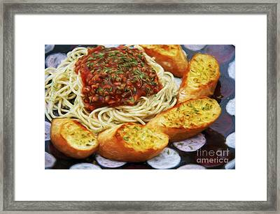 Spaghetti And Garlic Toast 6 Framed Print by Andee Design
