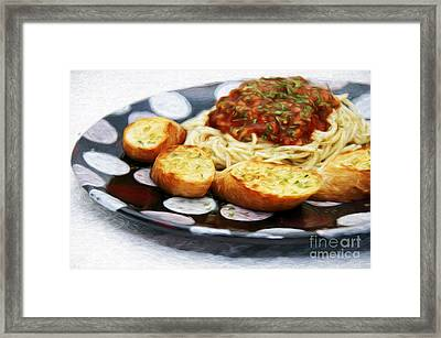 Spaghetti And Garlic Toast 2 Framed Print by Andee Design