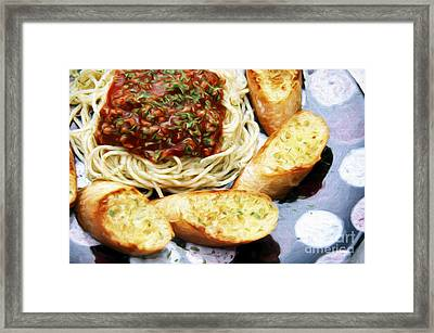 Spaghetti And Garlic Toast 5 Framed Print by Andee Design